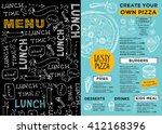 menu placemat food restaurant... | Shutterstock .eps vector #412168396