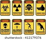 vector warning humorous signs... | Shutterstock .eps vector #412179376