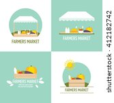 farmers market icons logos flat ...   Shutterstock .eps vector #412182742