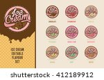 ice cream flavours vector set | Shutterstock .eps vector #412189912