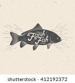 fresh fish. vintage styled... | Shutterstock .eps vector #412192372
