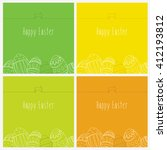 set of easter cards with a... | Shutterstock .eps vector #412193812