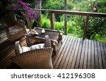 beach bungalow terrace... | Shutterstock . vector #412196308