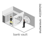 isometric interior of bank vault | Shutterstock .eps vector #412209292