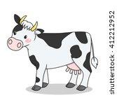 cute cartoon cow standing... | Shutterstock .eps vector #412212952
