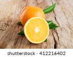 Fresh Oranges Fruit With Leave...