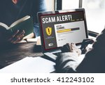 Small photo of Scam Alert Notification Laptop Concept