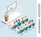 business seminar isometric flat ... | Shutterstock .eps vector #412252255