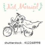 Hand Drawn Happy Bride And...