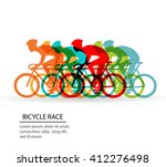 colorful poster with cyclists... | Shutterstock .eps vector #412276498
