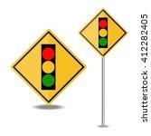 traffic light over yellow sign | Shutterstock .eps vector #412282405