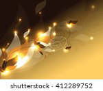 shiny background with leaves.... | Shutterstock .eps vector #412289752