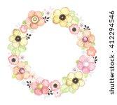 summer wreath of flowers ... | Shutterstock .eps vector #412294546