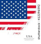 american flag made in brush... | Shutterstock .eps vector #412296592