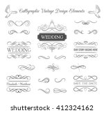 Wedding ornaments decorative elements, vintage ribbon frame, badge. Vector love element. Wedding invitation. Ornate frame elements. Vintage filigree decoration. Ornaments decorative vintage frame. | Shutterstock vector #412324162