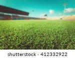 green grass in soccer stadium.  | Shutterstock . vector #412332922