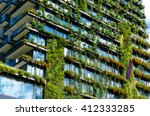 green skyscraper building with... | Shutterstock . vector #412333285
