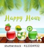 summer drinks on the table in... | Shutterstock .eps vector #412334932