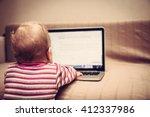 Child Working On Computer. Vie...