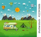 national mountain park camping... | Shutterstock .eps vector #412343686