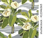 floral pattern seamless retro.... | Shutterstock . vector #412346365