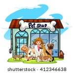 Stock vector vet and many pets at pet shop illustration 412346638