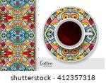 cup of coffee with colorful... | Shutterstock .eps vector #412357318