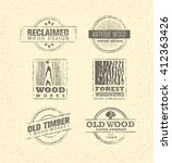 reclaimed wood design elements. ... | Shutterstock .eps vector #412363426