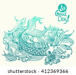 stylish floral doodle... | Shutterstock .eps vector #412369366