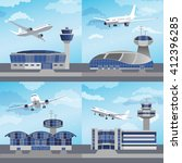 airport building set with... | Shutterstock .eps vector #412396285