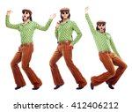 1970s vintage man with green... | Shutterstock . vector #412406212