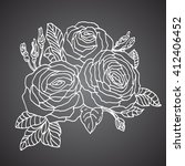 hand drawn roses . floral... | Shutterstock . vector #412406452
