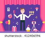 event manager on stage... | Shutterstock .eps vector #412406596