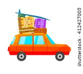 cartoon red car with a lot of...   Shutterstock .eps vector #412427005
