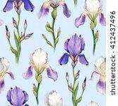 Watercolor Iris Flower...