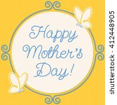 butterfly doodle frame mother's ... | Shutterstock .eps vector #412448905