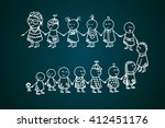 funny kids icons on blackboard. ... | Shutterstock .eps vector #412451176