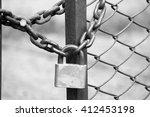 Iron Padlock On Iron Fence With ...