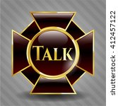 talk gold shiny badge | Shutterstock .eps vector #412457122