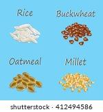 millet  buckwheat  oatmeal ...   Shutterstock . vector #412494586