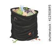 filthy open litter bin bag.... | Shutterstock .eps vector #412503895