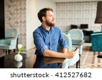 man waiting for woman in... | Shutterstock . vector #412527682