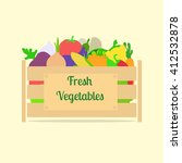 wooden box with vegetables.... | Shutterstock .eps vector #412532878