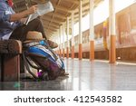 a man sit with map. travel bag... | Shutterstock . vector #412543582