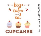 decorative card with cupcakes... | Shutterstock .eps vector #412546372