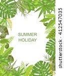 tropical green vertical poster | Shutterstock . vector #412547035