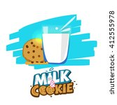 glass of milk and cookies with...   Shutterstock .eps vector #412555978