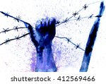human hand with barbed wire ... | Shutterstock . vector #412569466