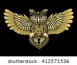 steampunk owl with spread wings ... | Shutterstock .eps vector #412571536