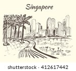 singapore coastline with big... | Shutterstock .eps vector #412617442